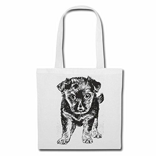 Tasche Umhängetasche HUNDEWELPE Hundezucht HAUSHUND HUNDEZWINGER ZÜCHTER WELPE ERZIEHUNG Pflege Einkaufstasche Schulbeutel Turnbeutel in Weiß