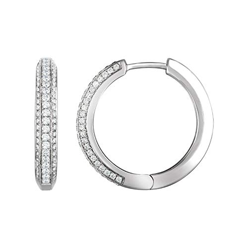 Orecchini a cerchio in oro bianco 14 ct con diamante 3/4 CTW
