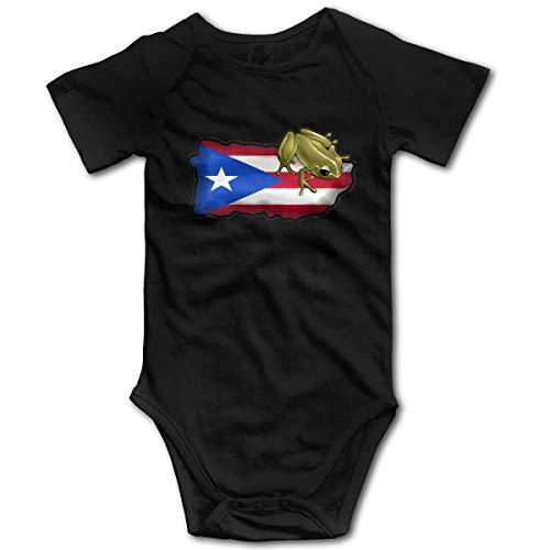KNKN Puerto Rico Coqui Romper Body para bebé recién Nacido Mono de Manga Corta Ropa para bebé Negro