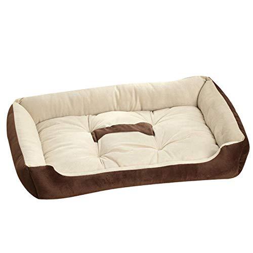 Cama para Perros de Felpa Suave y cálida Cama para Perros Cama para Dormir mullida sofá para Mascotas Perros pequeños y medianos de Varios tamaños -marrón_L-80 * 60 * 15