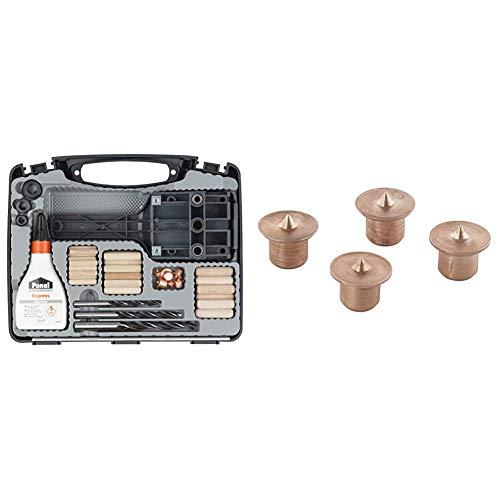 wolfcraft Universal-Meisterdübler-Set 4645000; 78-teiliges Komplett-Starter-Set zur Herstellung von sauberen Holzverbindungen mit Ø 6, 8 und 10 mm Holzdübeln & 2912000 4 Dübelfix ø8mm