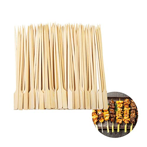 100 unids bambú de madera bbq pinchos comida carne herramienta barbacoa parilla desechable palitos de madera catering shish kabob grill camping (Color : 12CM)
