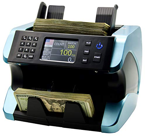 IDLETECH BC-1500 Money Counter Machine with Counterfeit Detection, Automatic Money Counting, Money Counter. UV, MG, IR Bill Counter. Selected Value, Add, Batch Modes. Print Option. Bank Grade.