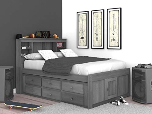 Learn More About Discovery World Furniture Charcoal Full Bookcase Bed with 6 Drawers