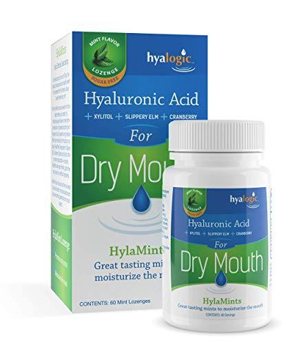 Hyalogic HyaMints Breath Mints for Dry Mouth- Sugar Free Mint Flavor— Natural Breath Freshener w/Hyaluronic Acid, Cranberry Extract, Xylitol, Slippery Elm, Orange Pectin (60 Count)