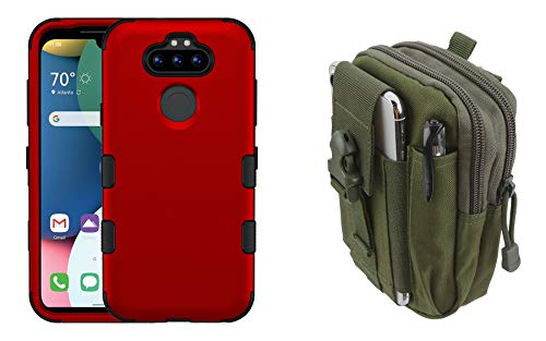 TUFF Hybrid LG Tribute Monarch Phone Case Bundle: Military Grade MIL-STD 810G-516.6 Heavy Duty Armor Dual Layer Cover with 600D Waterproof Nylon Material Tactical Storage Pouch - Red/Army Green
