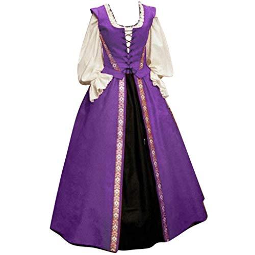 Lazzboy Kostüm Frauen Herbst Winter Gothic Retro Ballkleider Kleider Zweiteiliges Kleid Damen Cosplay Mit Trompetenärmel Mittelalter Party Kleidung Partykleider(Lila,4XL)