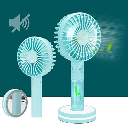 SanLead Mini ventilador de mano USB, pequeño ventilador de escritorio, portátil, funciona con pilas y recargable, pequeño ventilador de mesa eléctrico para el hogar, oficina, viajes al aire libre