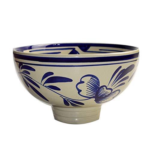 YAeele Aceite Azul y Blanco Splash Noodle Bowl Soup Bowl Beef Noodle Bowl Noodle Bowl Comercial Avellana Fideos Cuenco Azul de 10 Pulgadas