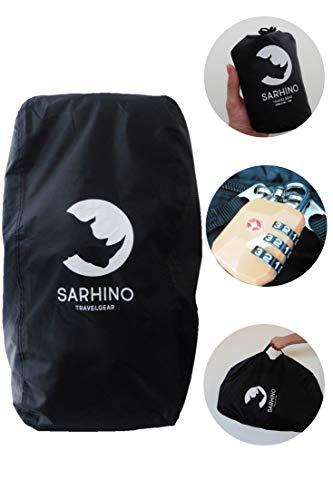 Sarhino Shield Transporthülle für Rucksäcke - Flightbag/Reiseschutz und Regenschutz - Schwarz (Large 80-100l)