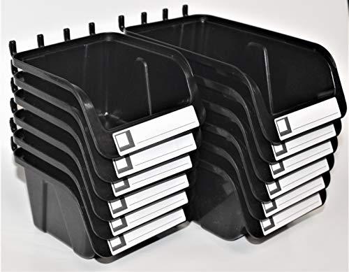 WallPeg Pegboard Bins - 12 Pack - Hooks to Peg Board - Organize Hardware, Accessories, Workbench, Garage Storage, Craft Room, Tool Shed, (6 ea. 7