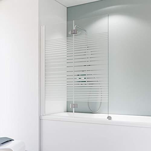 Schulte Badewannenfaltwand Komfort 2-teilig, 112 x 140 cm, optimierte Elementaufteilung, 5 mm Sicherheitsglas (ESG) Dekor Querstreifen, Alpinweiß, A796 04 72