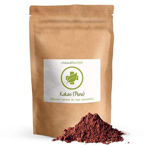 Bio Kakao-Pulver - 250 g roh - aus peruanischen Kakaobohnen - Kakao-Alternative - 100 % vegan & rein - in Rohkostqualität - zum Backen und Zubereiten von Desserts - glutenfrei - OHNE Zusatzstoffe
