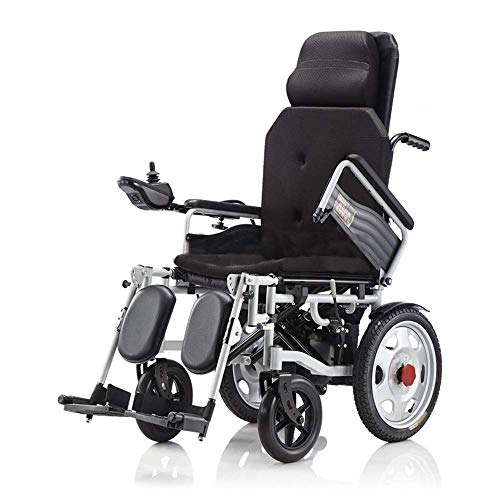Inicio Accesorios Silla de ruedas eléctrica plegable liviana para personas mayores con respaldo reclinable y motor de doble potencia Transporte de tránsito portátil para ancianos y discapacita