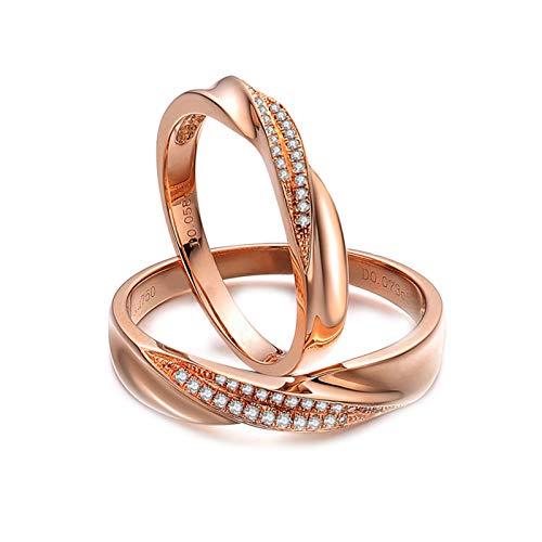 Daesar 18ct Gold Rings Men and Women Couple Ring Set Twisted Couple Rings Diamond Rose Gold Ring Women Size M 1/2 & Men Size V 1/2