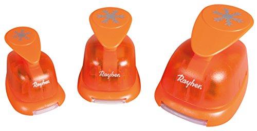 Rayher 69181000 Motivstanzer-Set Schneeflocken, Set 3 Stück, Motivgrößen 1,6 cm, 2,54 cm, 3,81 cm, geeignet für Papier/Karton bis 200g/m2