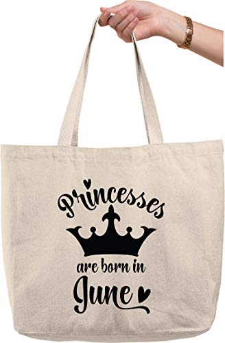 Princesses are born in June crown birth month cursive heart Natural Canvas Tote Bag funny gift