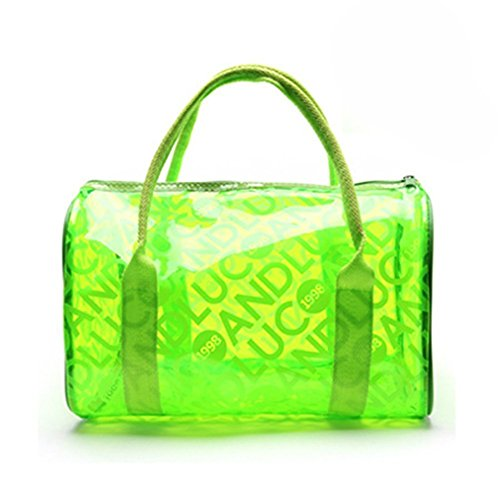 TININNA Moda y Simple Bolso de Mano, Impermeable Transparentes Bolsa de Mano, Bolso de Playa del PVC y Poliéster con el Bolso Cosmético Pequeño.-Verde