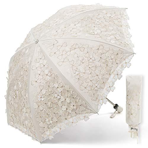Bordado hecho a mano Paraguas de encaje blanco Sombrilla Sombrilla Para Mujeres Niñas Paraguas de dama de honor Estilo retro Boda nupcial Europea Sesión de fotos Compras Camping Citas Viajando Paragua