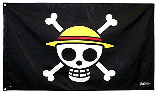 ABYstyle ABYDCT002 - One Piece Skull Luffy Bandera, diseño de Calavera (70 x 120 cm), Color Negro