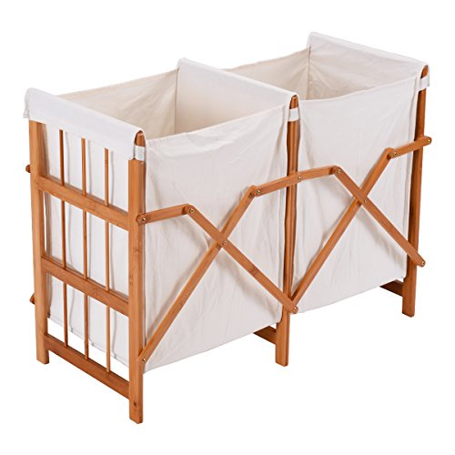 barebear70 New Household Folding Bamboo Frame Laundry Hamper Clothes Storage Basket Bin W/2 Bag