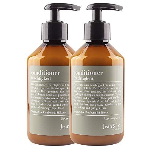 Jean & Len Conditioner Feuchtigkeit, Rosemary & Ginger, tägliche Extrapflege für trockenes, sprödes Haar,  für höhere Spannkraft und leichtere Kämmbarkeit, 2er Pack (2 x 300 ml)