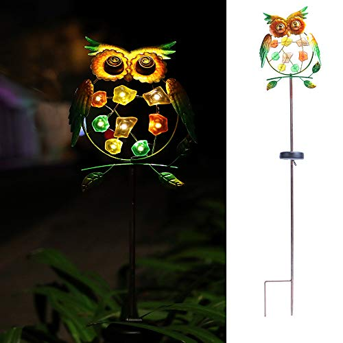 "WSgift Metal Owl Garden Solar Lights, Solar Powered Garden Outdoor Stake Lights - Metal OWL Warm White LED Decorative Garden Lights for Walkway,Pathway,Yard,Lawn 8.3""(L) x 1.5""(W) x 38""(H)"