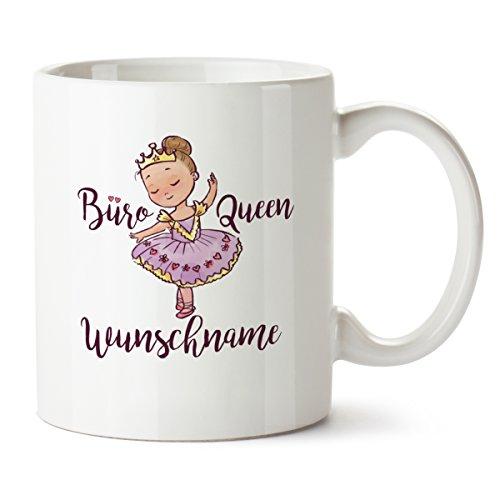 Partycards Personalisierte Tassen als Geschenkidee mit verschiedenen Motiven - Kaffebecher (Büro Queen + Wunschname, 300ml)