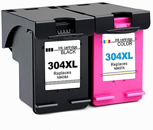 Ink E-Sale Remanufacturado 304XL para Cartuchos HP 304 304XL Compatibles con Envy 5010 5020 5030 5032 5050 5011 Deskjet 2620 2622 2630 2632 2633 2634 3720 3730 3733 3735 3750 3760,1 Negro 1 Tricolor