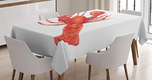 ABAKUHAUS Hummer Tischdecke, Mediterrane Küche, Für den Inn und Outdoor Bereich geeignet Waschbar Druck Klar Kein Verblassen, 140 x 200 cm, Zinnoberrot und Weiß