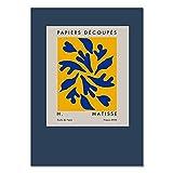 Póster de arte abstracto de Henri Matisse, pintura de flores de jarrón nórdico, lienzo azul sin marco en la sala de estar A5 60x90cm