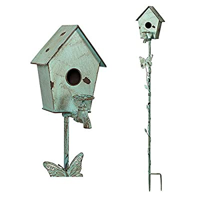 MOCOME Bird House Stake for Outside, Reclaimed Cast Iron Faucet with Butterfly, Outdoor Metal Birdhouse with Stand Distressed Garden Stake Decor Eco-Friendly(Teal)