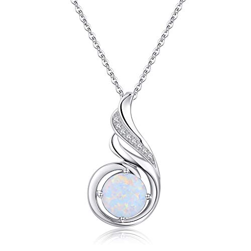 Sterling Silver Phoenix Princess Necklace, Opal Jewellery for Women Girl Statement Necklace Birthday Gift.
