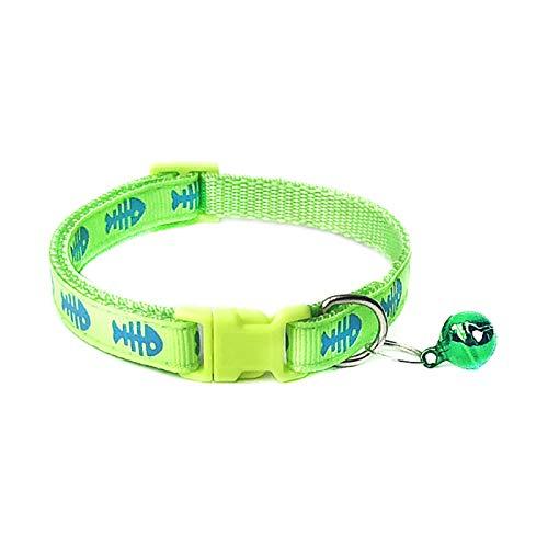 Collar para mascotas, perro y gato, hueso, diseño de campana, hebilla ajustable, collar y correa para el cuello, color verde fluorescente