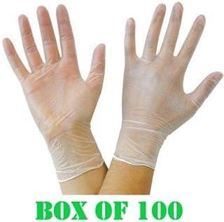Caja de 100 guantes de vinilo sin polvo, resistentes y de
