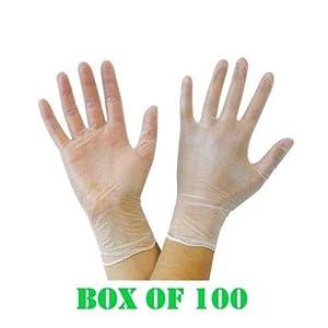 Caja de 100 guantes de vinilo sin polvo, resistentes y de buena calidad, sin látex, fáciles de poner, perfectos para el uso diario