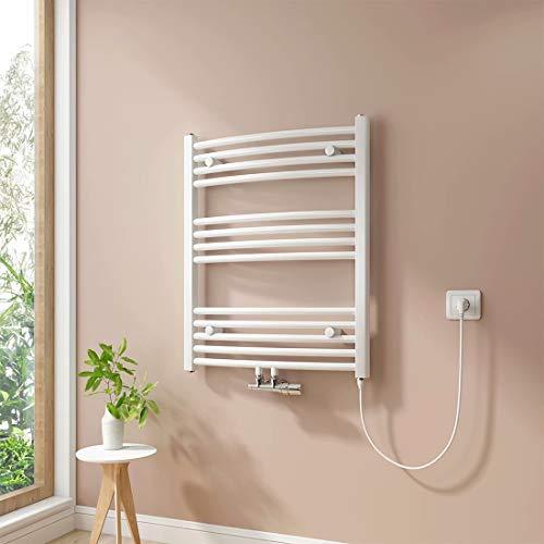 Handtuchheizkörper, Badheizkörper, Weiß Badheizkörper, Mittelanschluss Warmwasser oder Elektrisch mit Heizstab, Handtuchtrockner (75 x 60 cm, 300 Watt)
