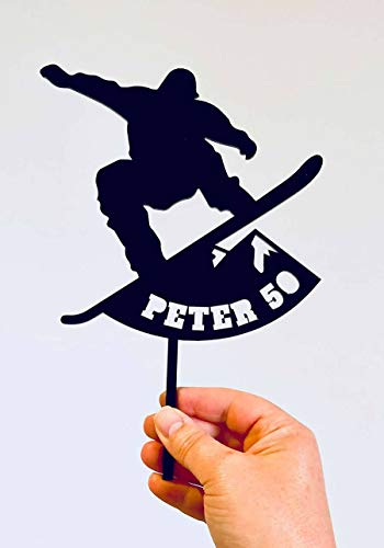 Snowboarding Birthday Cake Topper - Custom