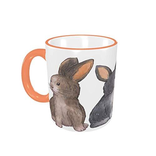 Taza de café Tazas de café Divertidas de Conejito marrón con Asas para Bebidas Calientes - Cappuccino, Latte, Tea, Cocoa, Coffee Gifts 12 oz Pink