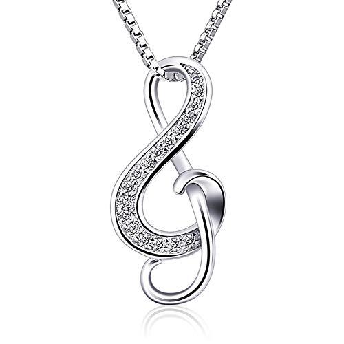 Boenxuan Halskette Kette Anhänger 925Er Silber Notenschlüssel Music Damen Schmuck, Einzelanhänger (Ohne Kette),Silber