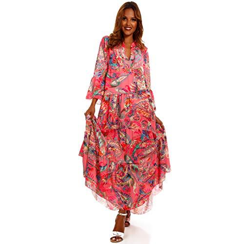 YC Fashion & Style Damen Boho Maxikleid Strandkleid Freizeit Sommer Party Kleid Hippie Kleid Plus Size Made in Italy (One Size, Pink/Paisley)