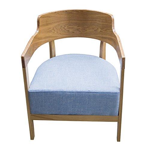 Knipperende moderne houten fauteuil zachte spons kussen voor lange termijn gebruik zonder vervorming Eetkamerbank H75cm Blauw