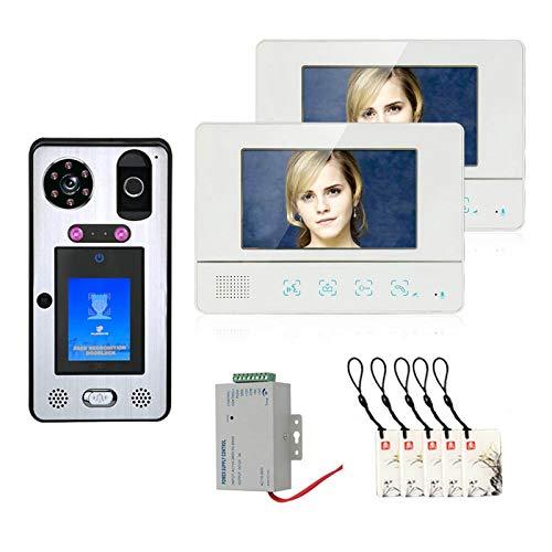 Videoportero, Kits de sistema de intercomunicación de Timbre de Video de 7 pulgadas, 1000TVL cámara + 2 monitor, con desbloqueo de tarjeta IC de huella digital de reconocimiento facial