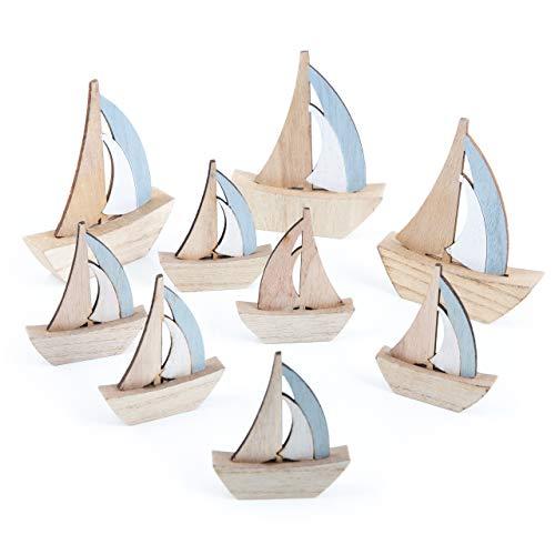 Logbuch-Verlag Maritimes Deko Set 6 pequeños + 3 Grandes Holzschiffe Segelboote - decoración náutica baño Regalo Give-Away Tischdeko Bautismo comunión