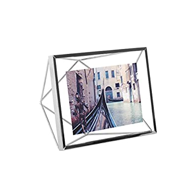 Umbra Prisma 4x6 Picture Frame – Floating Wall or Desk Photo Display for Pictures, Art, Illustrations, Graphic Text & More, Metal, Chrome