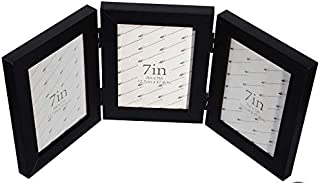 Gecko Creations 3 Picture Frame,Triple Picture Frame with Solid Wood and Sturdy Real Glass,Stands Verticllly or Obliquely on Desktop(5x7 Triple,Black)