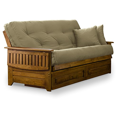 Nirvana Futons Brentwood Tray Arm Futon Frame, Drawers, and Khaki Mattress Set - Queen, Rich Heritage Finish