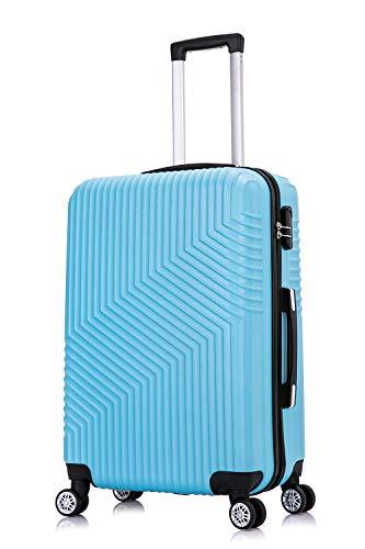 Frentree Hartschalen-Koffer 02   Trolley Reisekoffer Handgepäck mit 4 Rollen M-L-XL-Set zum Auswahl, Koffer Standard Farbe:Cyanblau(Sky Blue), Koffer Standard Größe:XL(77CM)