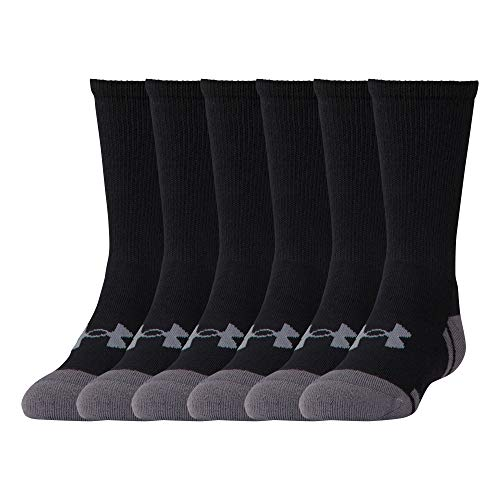 Under Armour Youth Resistor 3.0 Crew Socks, Black/Graphite (6-Pairs), Shoe Size: Youth 13.5K-4Y