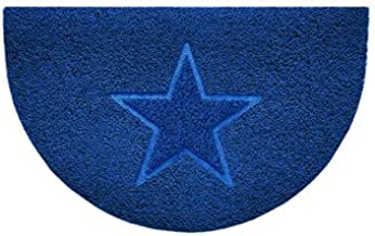 Nicoman Embossed Halfmoon Half Circle Door Mat Dirt-Trapper Jet-Washable Doormat 70x44cm (Blue, Star Shape) - Use Indoor o...